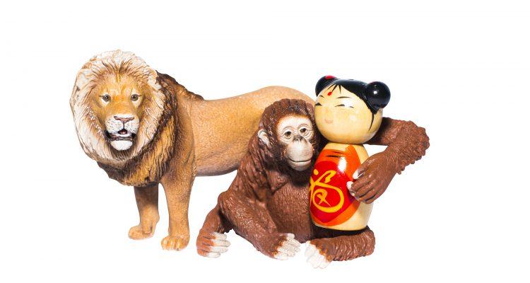 36. Chinees meesje met leeuw en aap- kleuter
